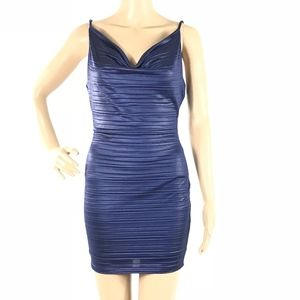 Just Me Navy Shiny Bodycon Mini Party Dress
